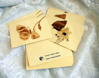 Set of 6 Vintage Wheat Straw Cards made in Banladesh, Handmade cards, Mirpur Wheat Straw, Butterfly Cards