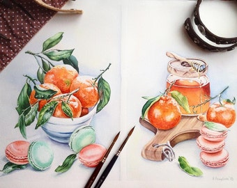 Diptych: Still life with tangerines and honey.