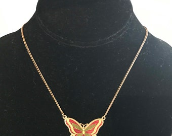 "Vintage Sarah Coventry ""Fly Away"" Butterfly Enamelware Gold Tone Necklace"