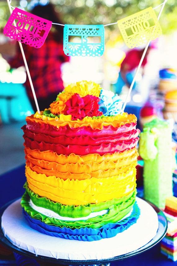 Papel Picado Cake Topper First Fiesta Mexican Fiesta