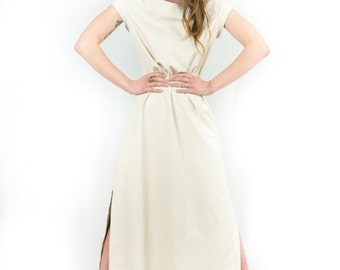 Remember the Time Cream Faux Leather Maxi Dress