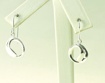 """Sterling Silver Round Swoop Earrings 9/16"""""""