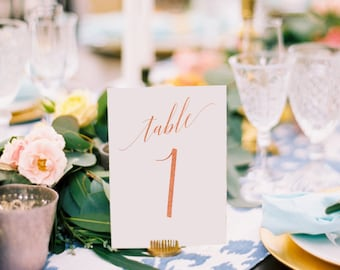 Adelicia Rose Gold Foil Table Numbers - Rose Gold Table Number Cards - Two Sided - Wedding Table Numbers with Rose Gold Foil #TN215RG
