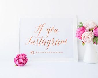 Wedding Gold Foil Sign - If you Instagram - Asterism Gold Foil Sign - Wedding Signs with Gold / Silver / Rose Gold Foil by Pineapple