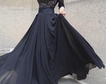 Summer Long Skirt/Black Skirt/Chiffon Skirt/Maxi skirt/Casual Skirt/Full length skirt/Princess Skirt/F1579
