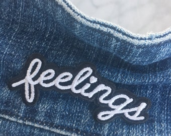 Feelings / Feminist Patch – Iron On Embroidered Patches - Black & White
