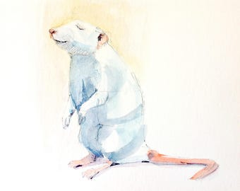 FREE SHIPPING until June 1st, 2017 | Original watercolor painting | Sweet Rat