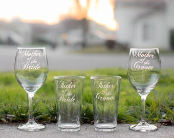 Gifts for Mother and Father of the Bride and Mother and Father of the Groom, Hand Engraved Set of 4, More Types Available, Wedding Date