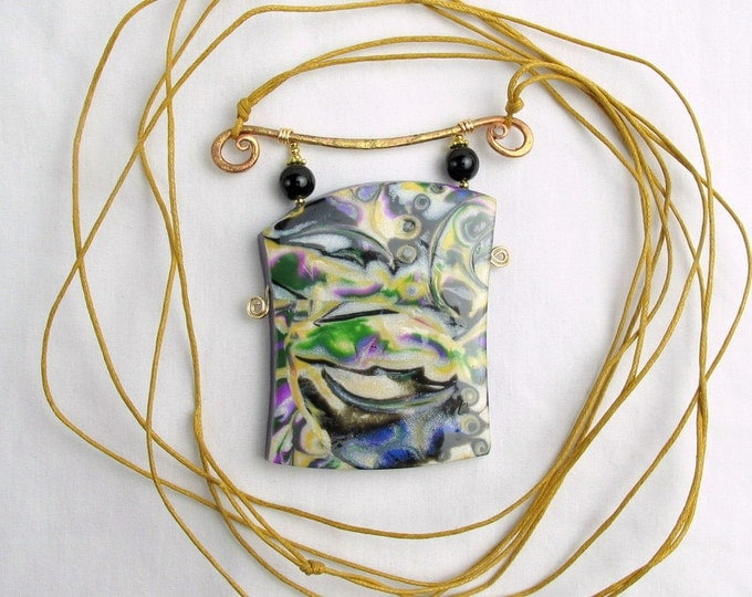 Handcrafted  Polymer Clay Pendant w Black Obsidian & Genuine Cotton Necklace
