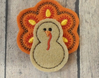 Turkey Felties--Orange Feathers--Set of 4