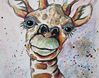 Giraffe Art / Giraffe painting, Original art, zoo animal art, africa animal painting, giraffe portrait, wall hanging, sold unframed, 21x30cm