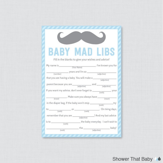 Mustache Baby Shower Mad Libs Printable Baby Shower Advice