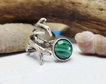 Twig Ring With Stone ~ Malachite Coral Reef Ring ~ Silver Twig Ring ~ Gift For Girlfriend ~ Nature Inspired Ring ~ Summer Jewelry Trend