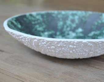 Backside Doily stamped Handmade Pottery Bowl, Turquoise Serving Platter, Lace imprinted on the outer surface, Home Decor