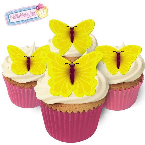 24 Gorgeous Edible Bright Yellow Design Wafer Butterflies