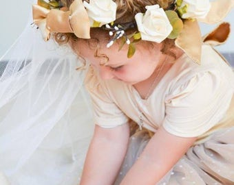 boho rose crown, flower girl wreath, cream rose crown, rustic halo, gold and cream, rose head wreath, ivory rose crown,  rose bridal crown