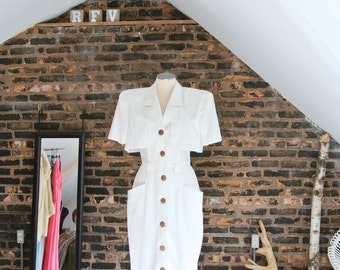 80's Vintage    30's Inspired    White Cotton    Button Front    Shot Sleeve    Day Dress    Pin Up Style    0287