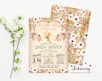 Fairy Baby Shower Invitation Enchanted Floral Baby Shower Invitation Watercolor Baby Shower Invitation, Printable No.986BABY
