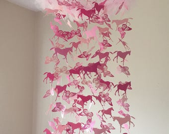 Butterfly and Horse Nursery Mobile - Wild Horses and Butterfly Chandelier Mobile in Shades of Pink - Baby Mobile - Crib Mobile - Baby Shower