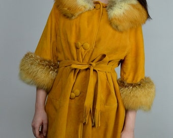 Foxy | Medium | 1960s Vintage Fox Fur Suede Leather Coat Fur Cuff Bracelet Sleeve 60s Jacket