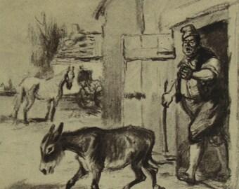 Town Musicians of Bremen. Brothers Grimm. Illustrator K. Rudakov. Vintage Soviet Postcard - 1956. Izogiz Publ. Donkey, Dog, Cat, Rooster
