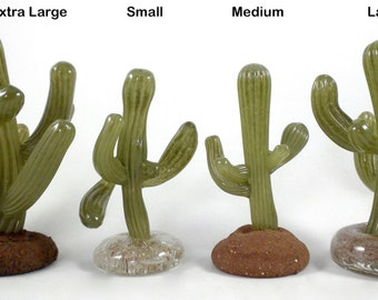 Glass Saguaro- hand sculpted glass saguaro, natural, organic, desert, funky, lifelike, green, nature, sculpture, great one of a kind gift