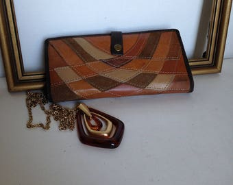 Vintage Leather 70's Mod Wallet, Patchwork Leather Wallet, Womens Leather Wallet