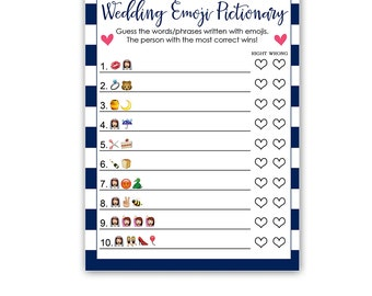 Nautical Wedding Pictionary Game - Navy and Pink Bridal Shower Activity -  Instant Download Bridal-148