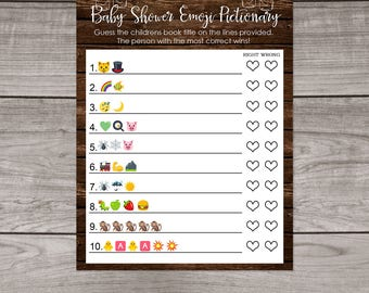 Babyq Baby Shower Emoji Pictionary Game - BBQ Baby Shower Emoji Game - Rustic Baby Shower Emoji Game - Instant Download Baby-115