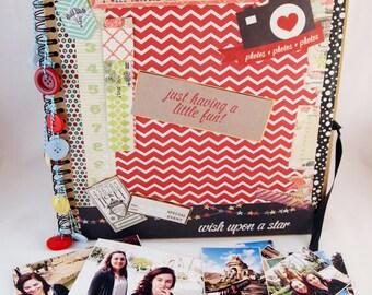 "12""x12"" Scrapbook, Mini Travel Journal Scrapbook Album, Photo Album, Memory Book, Premade Scrapbook, Gift Idea"