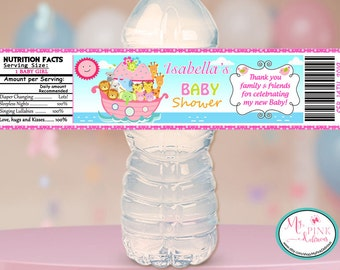 Personalized Noah's Ark Girl Baby shower Water bottle label   / Baby  Shower stickers / Baby shower Favor