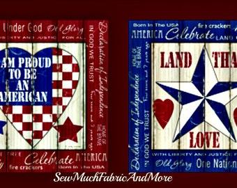 Proud To Be American fabric panel~Fabri-Quilt~Patriotic~USA~America~Primitive Design