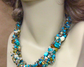 Beaded Necklace, Handmade Necklace, Hand crocheted necklace, Turquoise Necklace, One of a kind Necklace, Statement Necklace