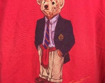 Vintage Ralph Lauren Polo Bear T Shirt Preppy Business Suit Blazer Red L