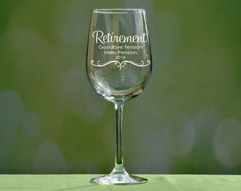 Personalized Retirement Gifts, Retirement Wine Glass, Retirement Gifts, Retirement Gifts for Women, Gift for Retirement, Retired, Retiree
