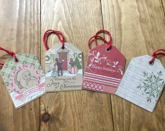 Christmas Gift Tags, Set of Four Gift Tags, Holiday Gift Tags, Christmas Tags