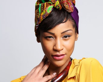Purple Dashiki Print head wrap | Wax Angelina print Head wrap | Ankara Print headscarf | African wax print material