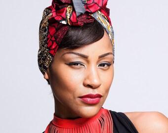 African Ankara Red  head wraps | Turban Wax print scarf | African Wax print | Hair scarf | African Fabric Scarf | Turban Head Wrap | Scarves
