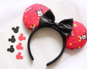 Minnie Mouse Prints Mouse Ears, Minnie Mouse Prints Ears, Minnie Mouse Ears, Mouse Ears, Minnie Ears, Red Mouse Ears, Red Minnie Mouse Ears
