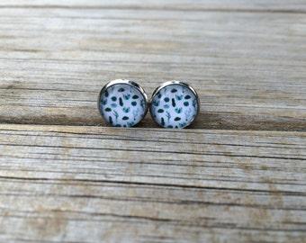 Blue Green Cactus earrings, stud earrings, Desert stud earrings, cabochon earrings, 12mm earrings, Gifts for her