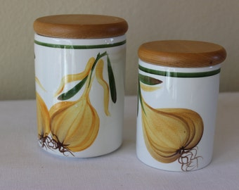 Vintage English Portmeirion Studio Kitchen Garden Canister, Portmeirion Onion Canisters, Two Portmeirion Canisters