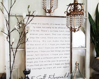 F. Scott Fitzgerald Wood Sign. Inspiring Quotes. Rustic Decor. Fixer Upper.