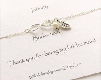 Infinity Bracelet, Bridesmaid Bracelet, Sister Bracelet, Mother Bracelet, Bridesmaid Gift, Bridesmaid Jewellery, Initial Bracelet