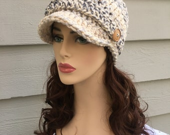 Crochet Brimmed Hat, Womens Hat,Newsboy Cap,Newsboy Hat,Chunky Hat,Crochet Boho, Chunky Crochet Hat, Women's Crochet Hat, Neutral Winter Hat