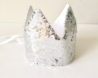 Silver Sequin Sparkly Dress Up Crown