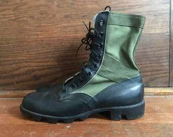 Vintage 1980s Leather & Green Canvas Military Army Combat JUNGLE BOOTS Size 10 R Corcoran Jump