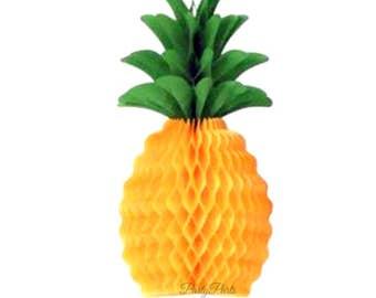 Pineapple Centerpiece, luau party decorations, 1CT, 12 in, honeycomb tissue paper, tropical decor, graduation, bridal shower, wedding, fruit