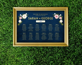 The FRANKIE . Seating Chart Wedding Table Names Sign . Printed Sign or PDF . Gold & Navy Chalkboard White Blush Pink Rose. Reception Signage