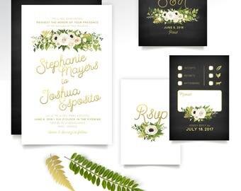 The JAYLA . Invitation Set . Gold Black White Poppy Eucalyptus Rose Garland Anemone Fern Magnolia Calligraphy Tropical Miami Beach Key West