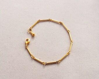 Gold bar link bracelet - gold bar chain bracelet - gold pyrite and bar link bracelet - gold stacking bracelet - gold coated pyrite